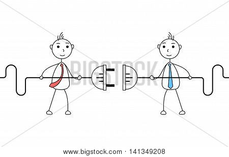 Cartoon businessmen connecting electric plug. Concept of cooperation
