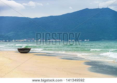 Bamboo Fishing Boat At China Beach In Danang In Vietnam