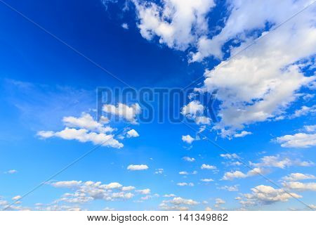 Beautiful blue sky with clouds rainy season
