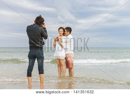 Young Couple Hugging Each Other At China Beach In Danang