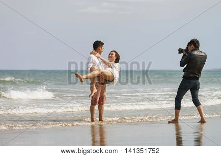 Young Couple Posing At The China Beach In Danang Vietnam