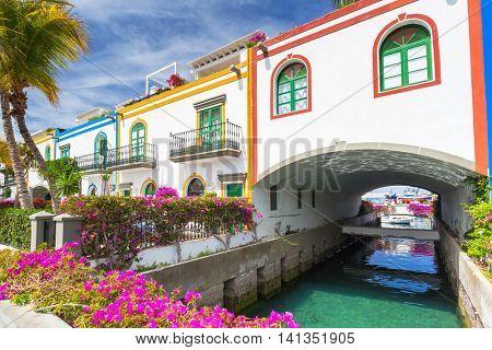 Architecture of Puerto de Mogan, a small fishing port on Gran Canaria, Spain.
