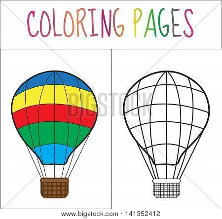 Coloring book page. Balloon. Sketch and color version. Coloring for kids. Vector illustration