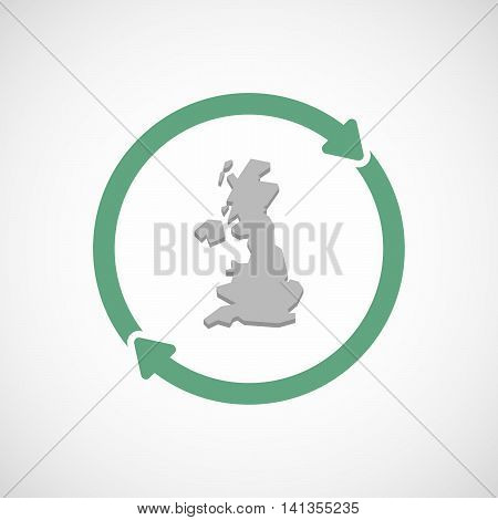 Isolated Reuse Icon With  A Map Of The Uk