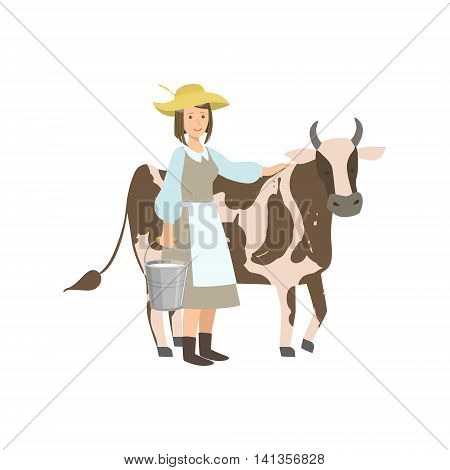 Milkmaid With Cow And Metal Bucket With Milk Simple Childish Flat Colorful Illustration On White Background