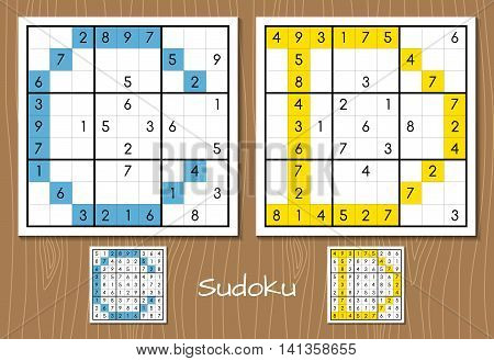 Sudoku vector set with answers. C, D letters. Hard level