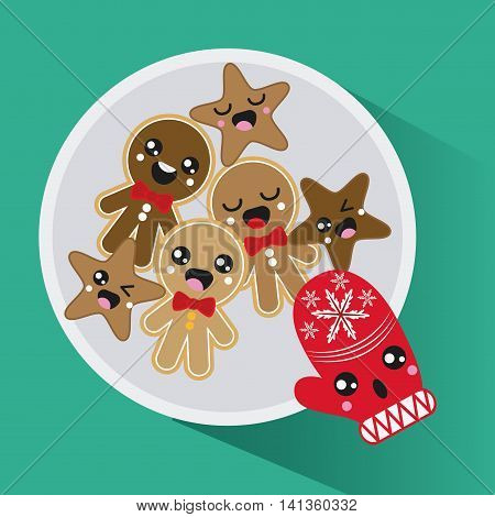 Merry Christmas and kawaii concept represented by cookie and glove cartoon icon. Colorfull and flat illustration