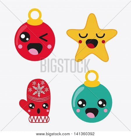 Merry Christmas and kawaii concept represented by icon set cartoon. Colorfull and flat illustration