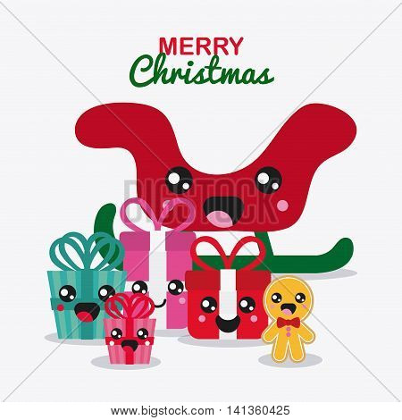 Merry Christmas and kawaii concept represented by gift and sled cartoon icon. Colorfull and flat illustration