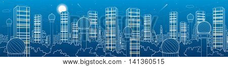 Megalopolis futuristic panorama, night city skyline, tower and skyscrapers, communication technology, white lines landscape, vector design art