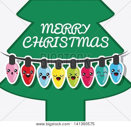 Merry Christmas and kawaii concept represented by pine tree and lights cartoon icon. Colorfull and flat illustration