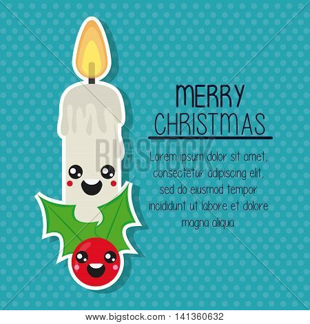 Merry Christmas and kawaii concept represented by candle cartoon icon. Colorfull and flat illustration