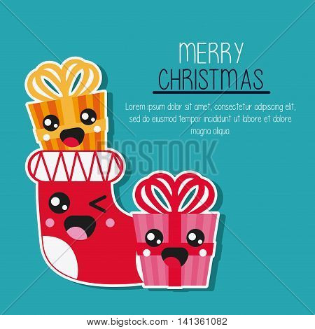 Merry Christmas and kawaii concept represented by gift and boot cartoon icon. Colorfull and flat illustration