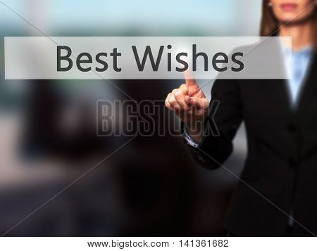 Best Wishes - Successful Businesswoman Making Use Of Innovative Technologies And Finger Pressing But