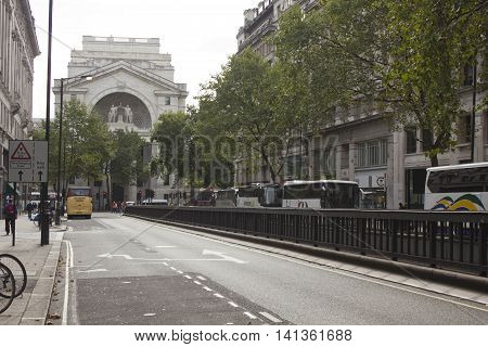 LONDON, UNITED KINGDOM - SEPTEMBER 12 2015: Kingsway street in London withBush house in the background