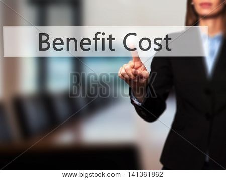 Benefit Cost - Successful Businesswoman Making Use Of Innovative Technologies And Finger Pressing Bu