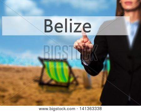 Belize - Successful Businesswoman Making Use Of Innovative Technologies And Finger Pressing Button.