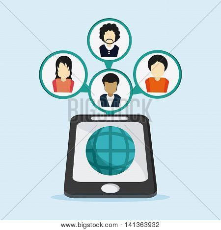 Social Network concept represented by smartphone and avatar design. Colorfull and flat illustration