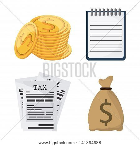 Tax and Financial item concept represented by icon set. Colorfull and flat illustration