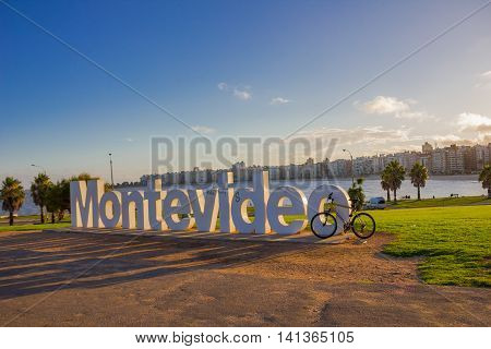MONTEVIDEO, URUGUAY - MAY 04, 2016: montevideo sign was builded in 2012 and it is one of the main atractions of the city.