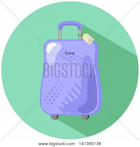 Purple baggage suitcase in flat style summer holiday travel vector illustration flat style baggage case with yellow tag wheeled suitcase trolley handle case hardside case with geometric ornament