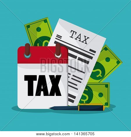 Tax and Financial item concept represented by document  bills and pen icon. Colorfull and flat illustration