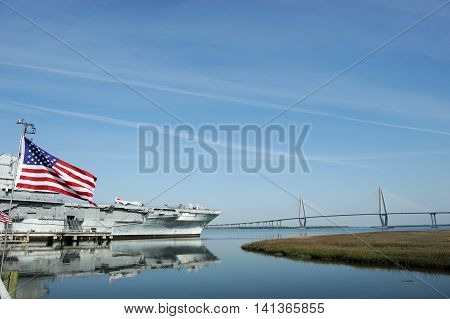 old aircraft carrier of world war two in Charleston near Charleston bridge