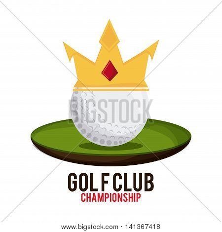 Gold sport concept represented by white ball with crown icon. Colorfull and flat illustration.