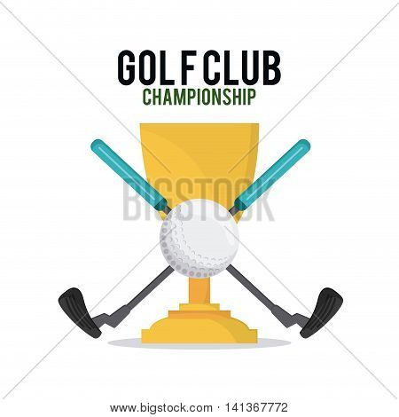 Gold sport concept represented by ball and club icon over trophy cup. Colorfull and flat illustration.