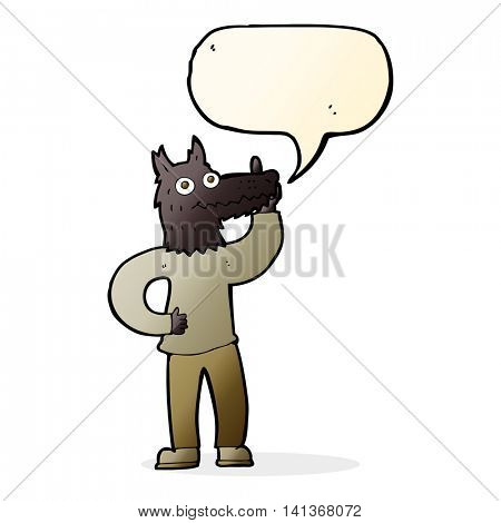 cartoon werewolf with idea with speech bubble