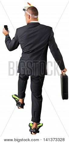 Businessman Holding A Mobile Phone And A Briefcase Wearing A Snorkel Mask And Diving Fins