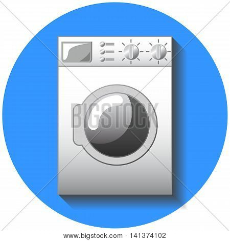 Washing machine flat style vector illustration. Washer icon on blue background with transparent shadow. Washing linen and cloth. Modern house technology. Comfort living house appliance. Clever home