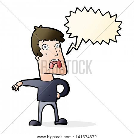 cartoon complaining man with speech bubble
