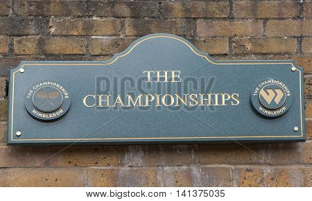 LONDON,THE UK-MAY 2016: Wall sign at Wimbledon courts