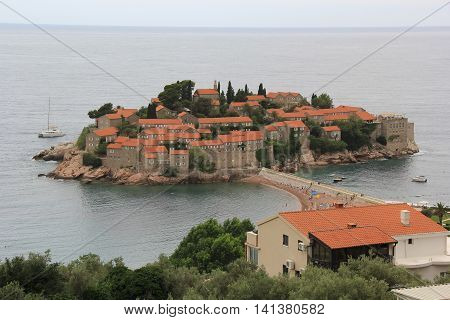 The island resort of Sveti Stefan in Montenegro for respectable recreation poster
