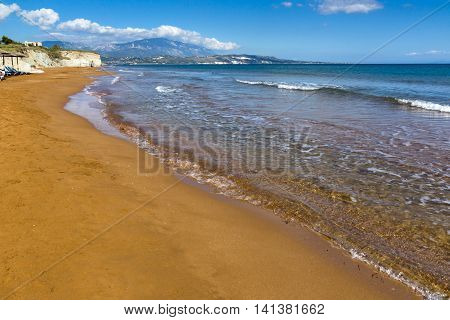 panorama of Xi Beach,beach with red sand in Kefalonia, Ionian islands, Greece