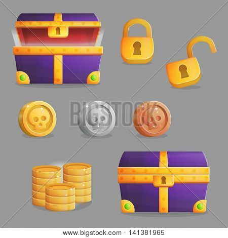 Collection of items for finding and opening a treasure chest with riches. Accessories for treasure chest opening, coins and riches inside of it and padlock. Game and app ui icons.