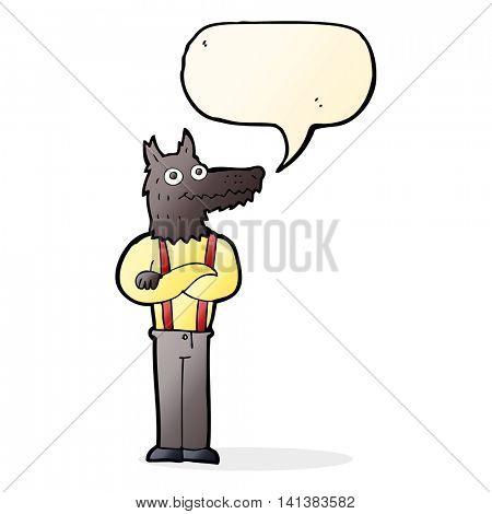 cartoon funny werewolf with speech bubble