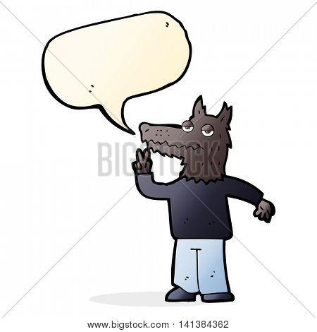 cartoon happy wolf man with speech bubble