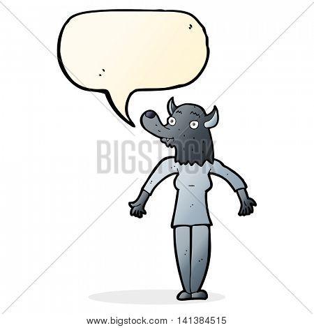 cartoon werewolf woman with speech bubble