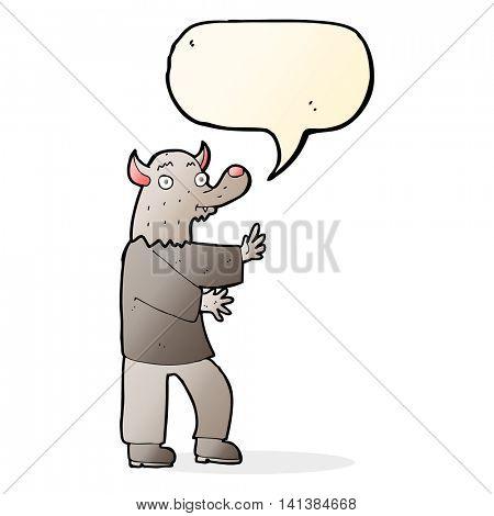 cartoon werewolf with speech bubble