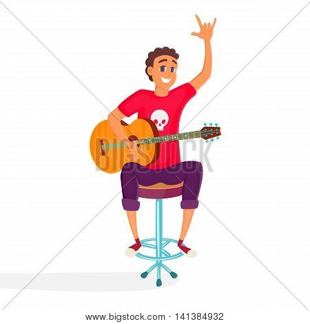 Cartoon acoustic guitar player. Teenage guitarist shows rock and roll sign. Vector illustration of young person holding acoustic guitar.