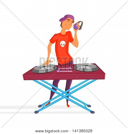 Cartoon teen dj. Boy playing. Young Dj wearing headphones and scratching a record on the turntable