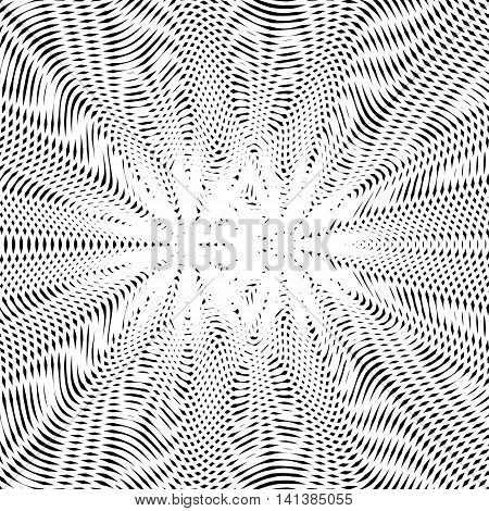 Striped psychedelic background with black and white moire lines.