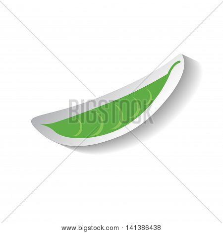 Green peas vector icon in flat style with shadow. Vegetable pictogram. Simple green peas pod illustration on white. Peas pod isolated. Green pod image for background patch web design. Healthy food.