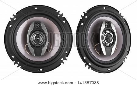 Coaxial car speakers isolated on white background