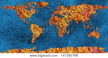 lifeless land an abstract map of the earth