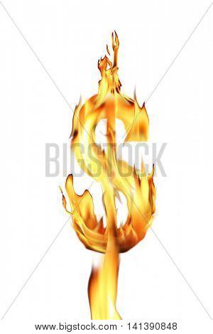 conceptual image of burning dollar sign
