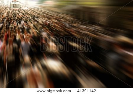 an image of people in a rush