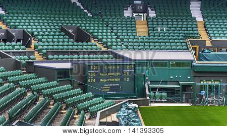 LONDON,THE UK-MAY 2016: Visiting the central court of Wimbledon